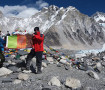 Andy Parkinson - 'The People's Republic of Heaton' flag at Everest Base Camp