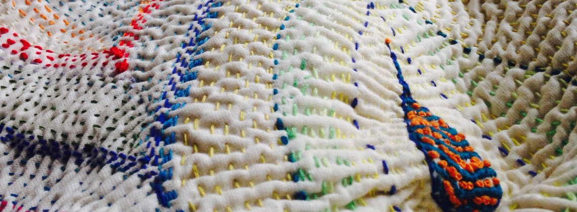 'Waves' embroidery on cloth