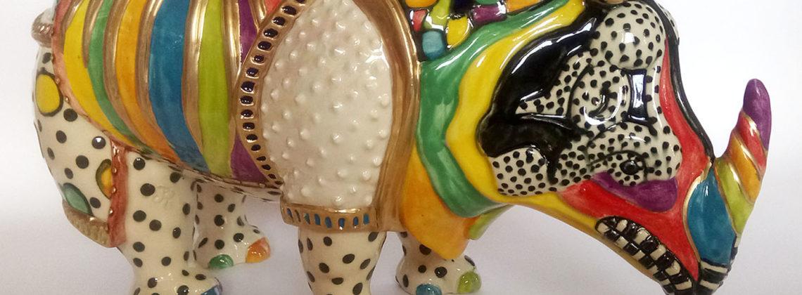 Ceramic Decorated Rhinoceros