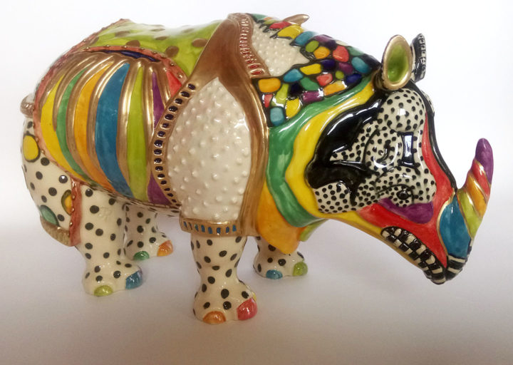 Ceramic Decorated Rhinoceros